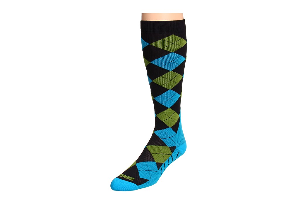 Zensah Argyle Compression Socks Black/Turquoise/Green Crew Cut Socks Shoes