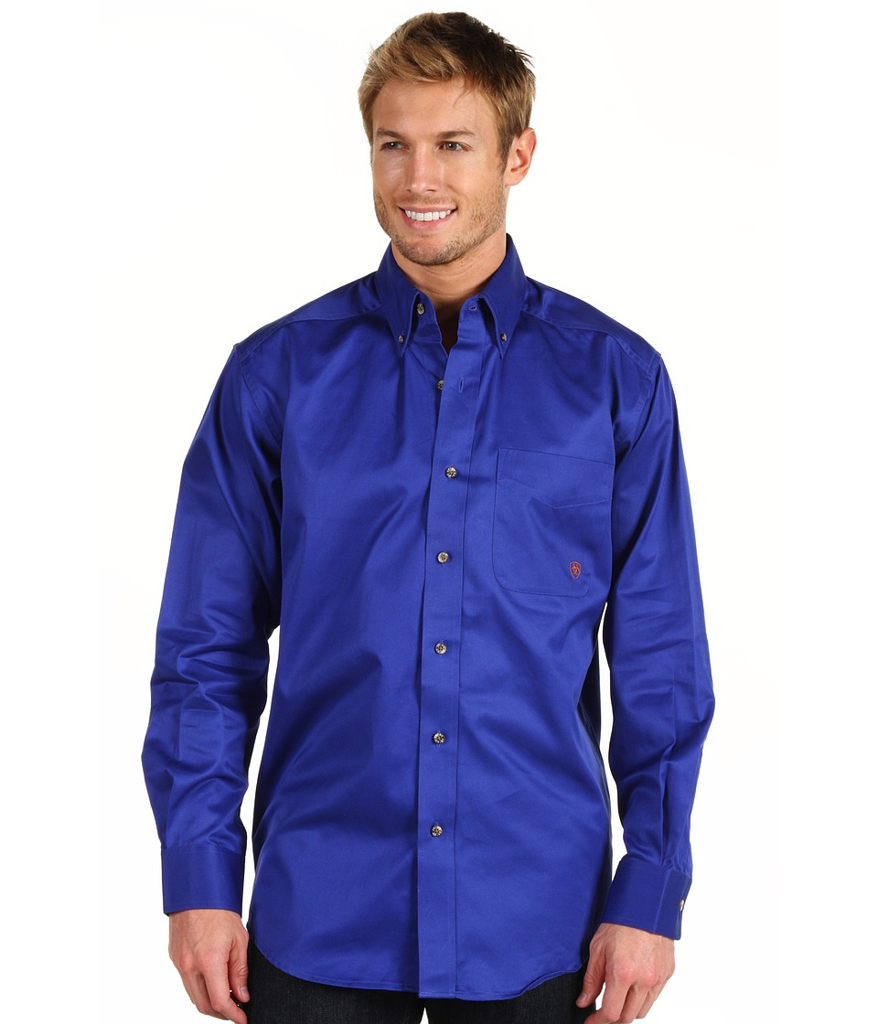 Ariat - Solid Twill Shirt (Ultra Marine) Mens Long Sleeve Button Up