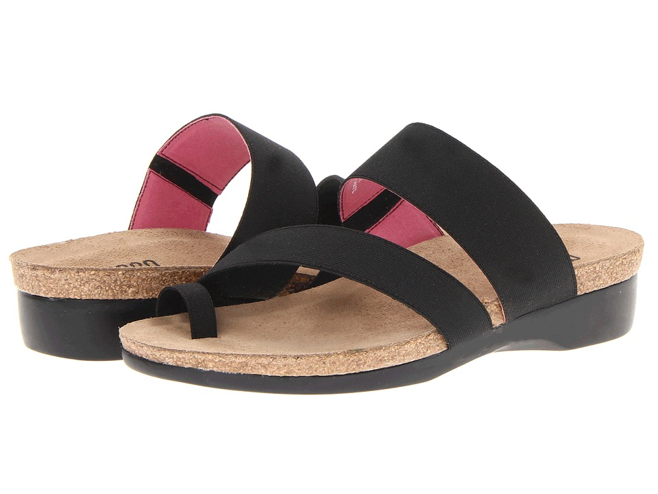Munro American Aries Black Fabric Womens Sandals