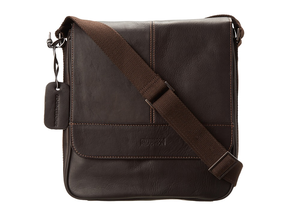 Kenneth Cole Reaction Columbian Leather Vertical Flapover Tablet Case (Dark Brown) Messenger Bags