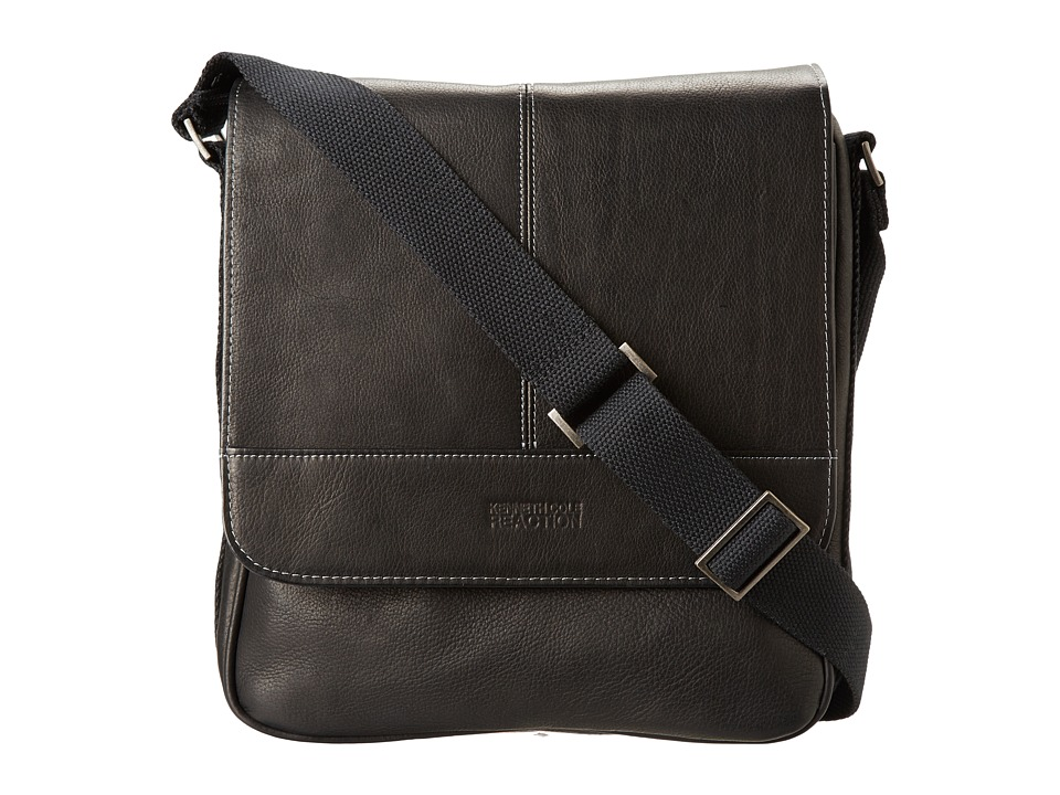 Kenneth Cole Reaction - Columbian Leather Vertical Flapover Tablet Case (Black) Messenger Bags
