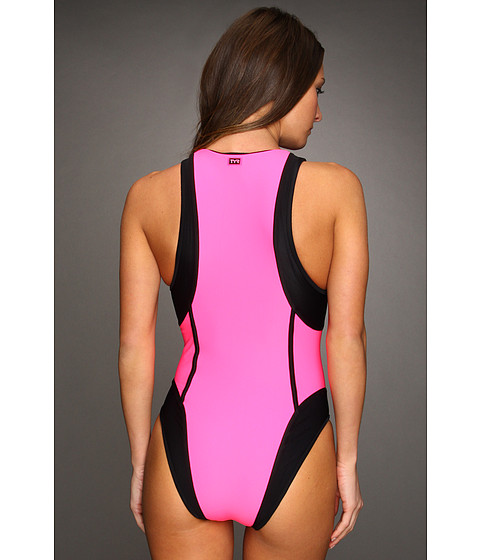 tyr flirt zipper one piece swimsuit Look your best in this chic, slimming one-piece swimsuit the high concentration of lycra spandex means that miraclesuit swimwear keeps its shape.