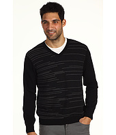 Perry Ellis - L/S Cotton Pleated Stripe V-Neck