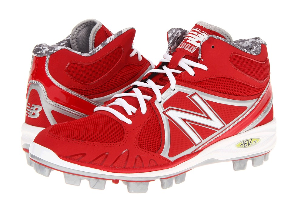 New Balance MB2000 TPU Molded Mid Cut Cleat Red/White Mens Cleated Shoes