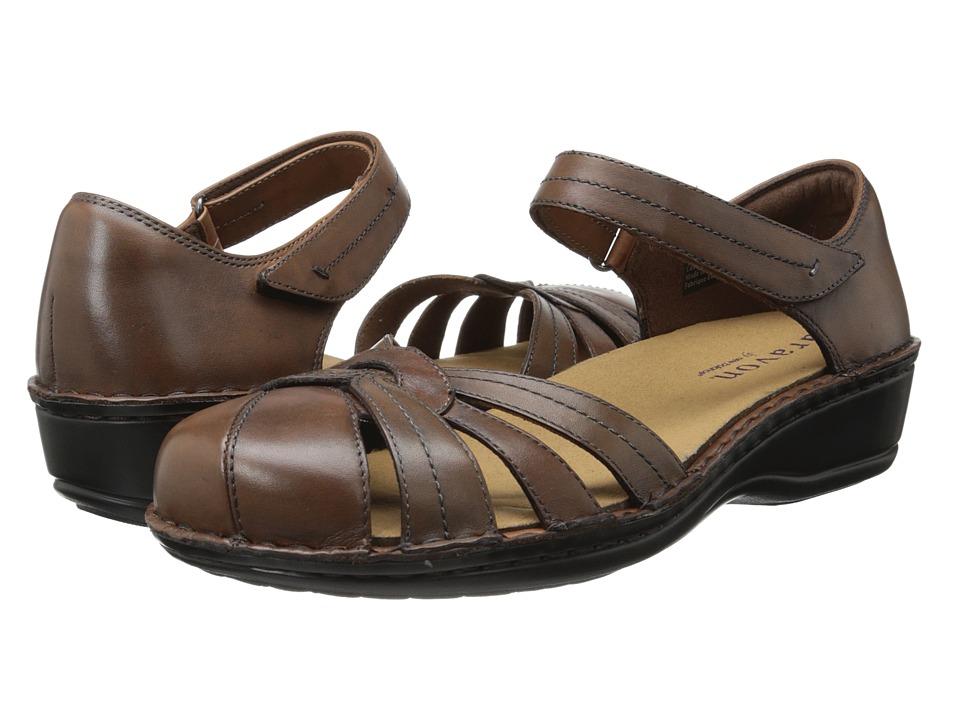 Aravon Clarissa Brown Leather Womens Shoes