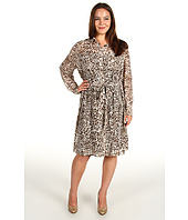 DKNYC - Plus Size Lynx Print L/S Roll Tab Dress