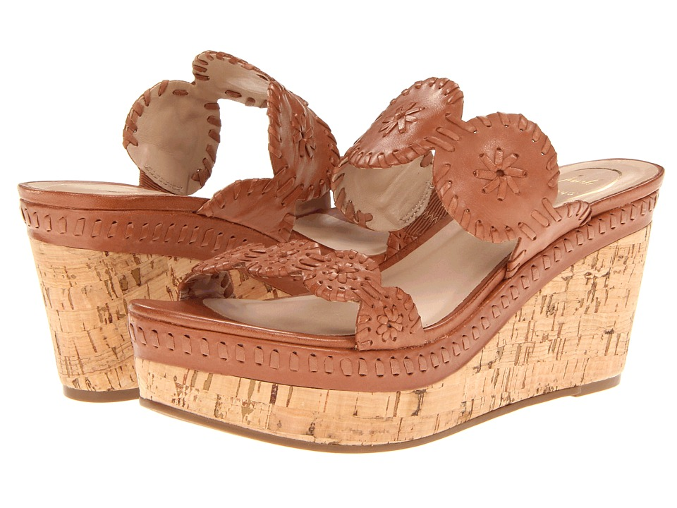 Jack Rogers - Leigh (Cognac Calf/Cork Wedge) Womens Sandals