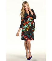 Maggy London - Printed MJ L/S Mock Wrap Dress