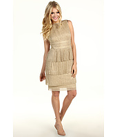 Maggy London - Metallic Knit Sleeveless Tiered Fringe Dress