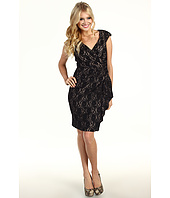 Maggy London - Cap Sleeve Side Drape Lace Sheath Dress