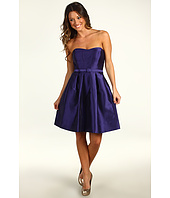 Eliza J - One-Piece Strapless Topstitch Seamed Bodice Belted Dress with Pleated Skirt