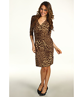Anne Klein Petite - Petite Leopard Print V-Neck Dress