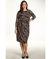 Anne Klein Plus - Plus Size Feather Print 3/4 Sleeve Dress
