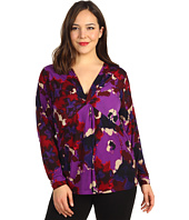 Anne Klein Plus - Plus Size Floral Print V-Neck Top