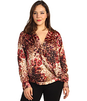 Anne Klein Plus - Plus Size Stepping Stone Print L/S Blouse