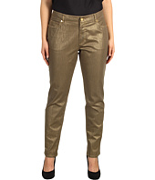 Anne Klein Plus - Plus Size Foiled 5-Pocket Jean in Gold Dust
