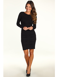 Ruched Ponte Knit Dress Black Nicole Miller