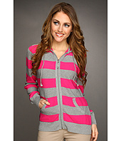 Caribbean Joe - Striped Waffle Stitch Zip Front Hoodie