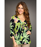 Caribbean Joe - Spanish Palm 3/4 Sleeve V-Neck Top