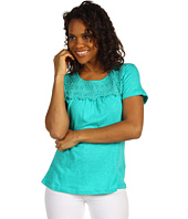 Caribbean Joe - Solid Slub Jersey S/S Top w/ Lace