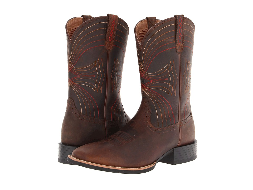 Ariat - Sport Wide Square Toe (Distressed Brown) Cowboy Boots