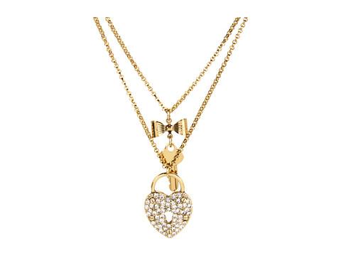Betsey Johnson Iconic Heart/Key 2 Row Necklace