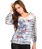 Jean Paul Gaultier - Silk Tat Stripe Peasant Top
