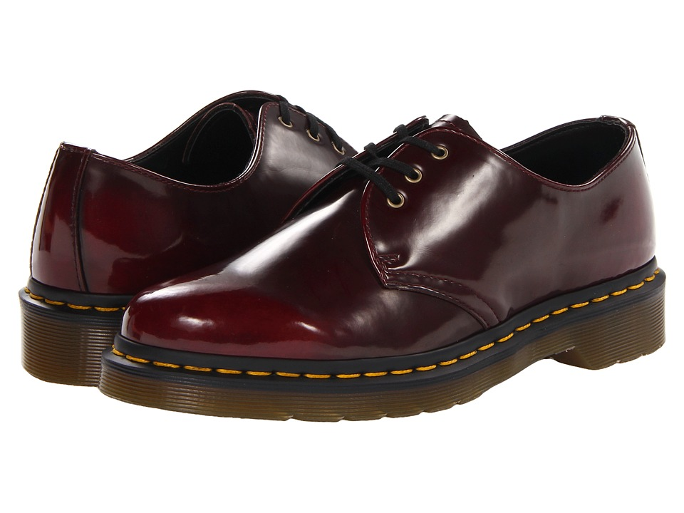 Dr. Martens 1461 Vegan 3-Eye Gibson (Cherry Red Cambridge Brush) Lace up casual Shoes