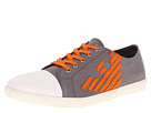Armani Jeans - Eagle Low Top Trainer (Grey Canvas with Orange Stripe) - Footwear