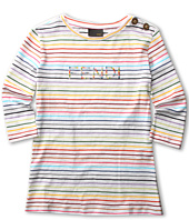Fendi Kids - Girls' Three Quarter Sleeve Striped Tee (Big Kids)