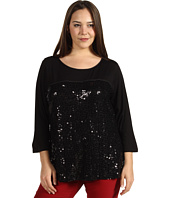 Calvin Klein - Plus Size 3/4 Sleeve Top w/ Sequins