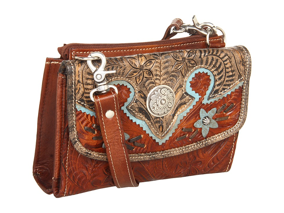 American West - Texas 2 Step Grab-and-Go Combination Bag (Antique Tan/Distressed Charcoal/Sky Blue) Shoulder Handbags