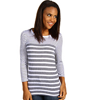 Three Dots - Mixed Stripe 3/4 Sleeve Boatneck Top