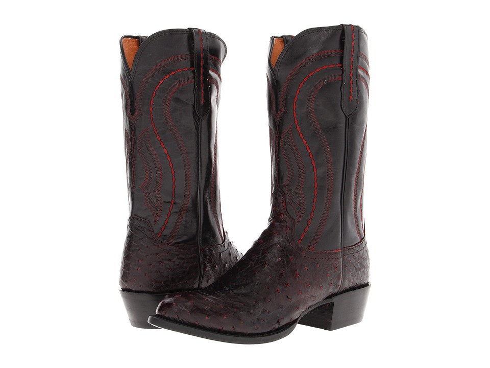 M1609 (Black Cherry Full Quill Ostrich/Black Derby Calf) Cowboy Boots