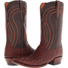 M1607 (Sienna Full Quill Ostrich/Dark Brown Derby Calf) Cowboy Boots