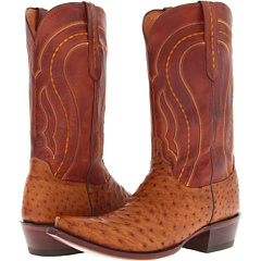 M1606 (Tan Burnished Full Quill Ostrich/Tan Ranch) Cowboy Boots