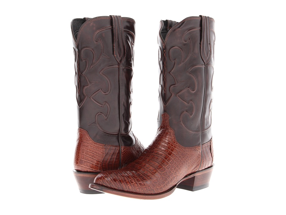 Lucchese - M1635 (Sienna Belly Crocodile/Dark Brown Derby Calf) Cowboy Boots