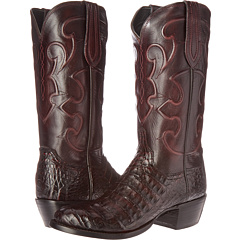 M1637 (Black Cherry Belly Crocodile/Cordovan Derby Calf) Cowboy Boots
