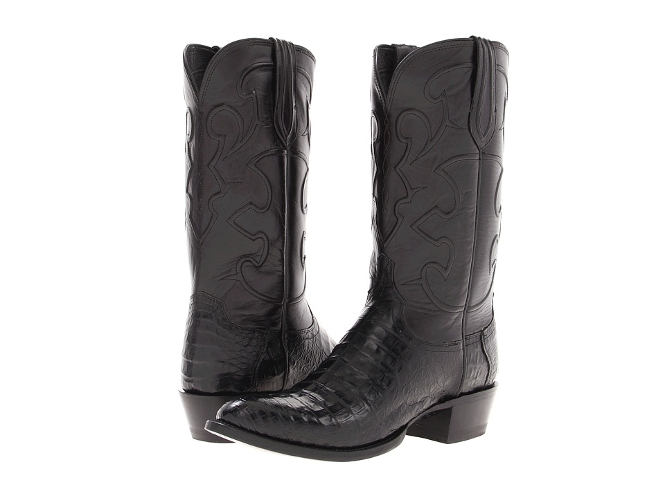 Lucchese - M1636 (Black Belly Crocodile/Black Derby Calf) Cowboy Boots
