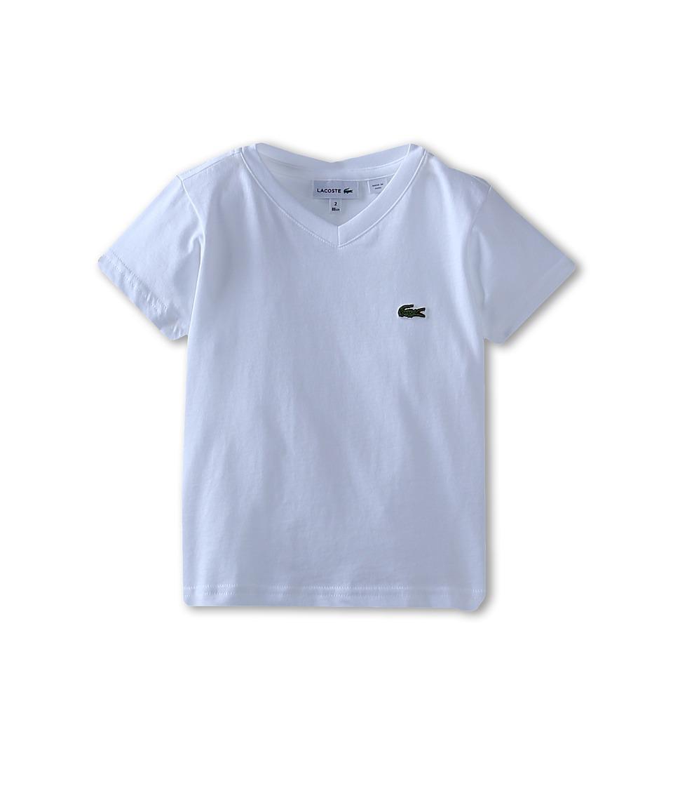 Lacoste Kids S/S Classic Jersey V Neck Tee Toddler/Little Kids/Big Kids White Boys Short Sleeve Pullover