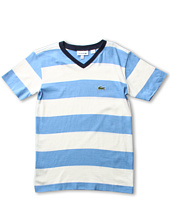 Lacoste Kids - Boy's S/S Stripe V-Neck Tee (Toddler/Little Kids/Big Kids)