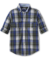 Lacoste Kids - Boy's L/S Large Check Shirt w/ Adjustable Sleeves (Little Kids/Big Kids)