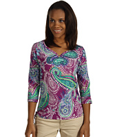 Caribbean Joe - Windsor Paisley 3/4 Sleeve Sweetheart Neck Top