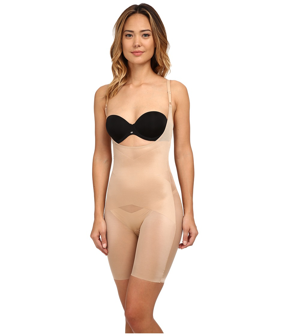 Spanx Skinny Britches Super Open Bust Mid Thigh Body Shaper Nude Womens Underwear