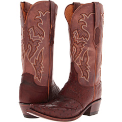 M5601 (Sienna Burnished Full Quill Ostrich/Redwood Rodeo Calf) Cowboy Boots
