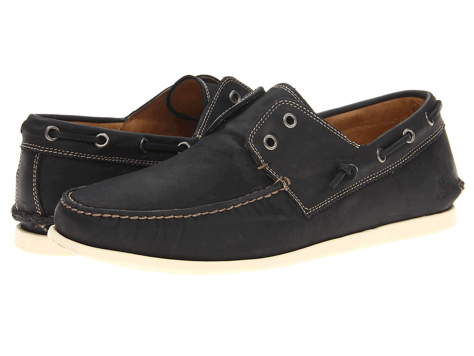 John Varvatos Schooner Boat Black Mens Slip on Shoes