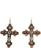 Gypsy SOULE - Silver and Copper Hammered Cross Earrings