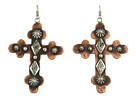 Gypsy SOULE - Silver and Copper Hammered Cross Earrings (Silver/Copper)