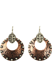 Gypsy SOULE - Silver and Copper Antiqued Cross Hoop Earrings