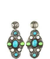 Gypsy SOULE - Silver Drop Earrings with Turquoise and Pearl Stones